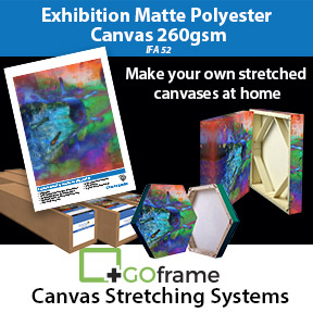 Exhibition Matte Polyester Canvas 260gsm and GOframe Canvas Stretching Systems