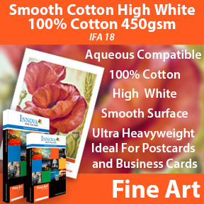 450gsm Matte 100% cotton inkjet fine art paper compatible with pigment and dye inkjet printers