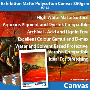 Exhibition Matte Polycotton Canvas 350gsm (IFA 35) | Innova Canvas | Inkjet Pigment and Dye Ink Compatible Canvas