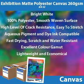 Exhibition Matte Polyester Canvas 260gsm (IFA 52) | Innova Inkjet Canvas | Aqueous Pigment and Dye Ink Compatible