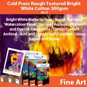 Cold Press Rough Textured Bright White Cotton 300gsm (IFA 27) | Innova Fine Art | Watercolour Textured Inkjet Fine Art Paper