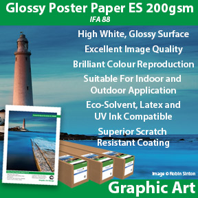 Glossy Poster Paper ES 200gsm IFA 88 | Eco-Solvent, Latex and UV Compatible | Innova Graphic Art