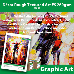 Décor Rough Textured Art ES 260gsm | Innova Graphic Art | Eco-Solvent, Latex and UV Compatible Art Paper with Watercolour Texture