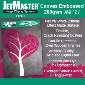 JetMaster® Paper: Canvas Embossed 200gsm (JMP 21) | JetMaster® Image Display Systems | Inkjet Paper