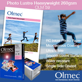 Olmec™ Photo Lustre Heavyweight 260gsm (OLM 59) | Olmec™ Resin Coated Inkjet Photo Paper | Aqueous Dye and Pigment Ink Compatible