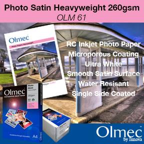Olmec™ Photo Satin Heavyweight 260gsm OLM 61 | Resin Coated Inkjet Photo Paper | Innova Art