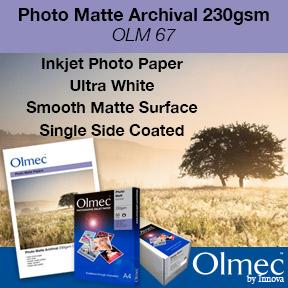 Photo Matte Archival 230gsm (OLM 67)   Olmec Range   Inkjet Photo Paper