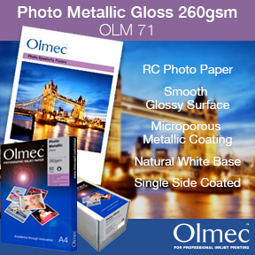 Olmec™ Photo Metallic Gloss 260gsm (OLM 71) | Resin Coated Inkjet Photo Paper | Pigment and Dye Ink Compatible