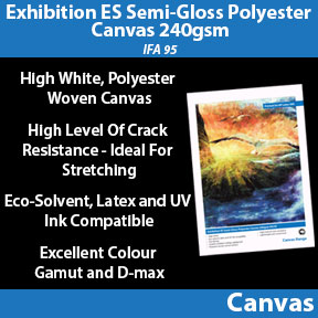 Exhibition ES Semi-Gloss Polyester Canvas 240gsm (IFA 95) | Eco-Solvent, Latex and UV Compatible Canvas