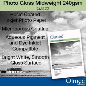 Olmec™ Photo Gloss Midweight 240gsm | Resin Coated Inkjet Photo Paper | Innova Art