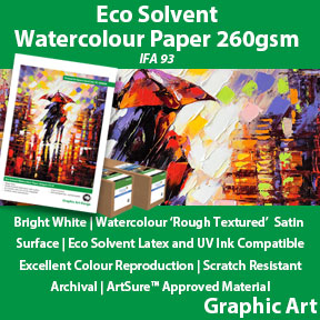 Eco Solvent Watercolour Paper 260gsm IFA 93 | Latex, UV and Eco Solvent Compatible Fine Art Paper | Innova Graphic Art
