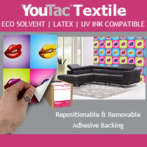 YouTac Textile | Latex, UV and Eco Solvent Compatible | Repositionable Adhesive Print Media
