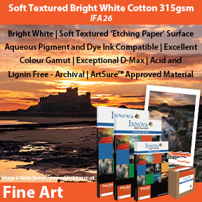 Innova Soft Textured Bright White Cotton 315gsm (IFA 26)   Archival Inkjet Fine Art Paper