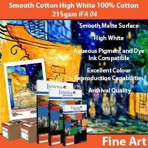 Smooth Cotton High White 100% Cotton 215gsm (IFA 04) | Archival Inkjet Fine Art Paper | Innova Fine Art Range
