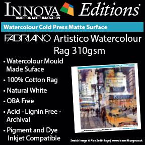 Fabriano Artistico WAtercolour Rag 310gsm (IFA 108) | Archival Inkjet Watercolour Paper | Innova Editions