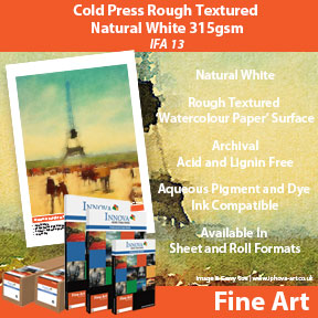 Cold Press Rough Textured Natural White 315gsm (IFA 13) | Archival Inkjet Watercolour Paper | Innova Fine Art Range