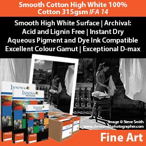 Smooth Cotton High White White 100% Cotton 315gsm (IFA 14) | Archival Inkjet Fine Art Paper | Innova Art