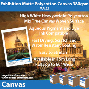 Innova Exhibition Matte Polycotton Canvas 380gsm (IFA 55) | Pigment and Dye Inkjet Compatible Canvas