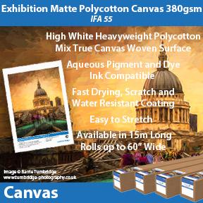 Innova Exhibition Matte Polycotton Canvas 380gsm (IFA 55) | Pigment and Dye Inkjet Compatible Canvas